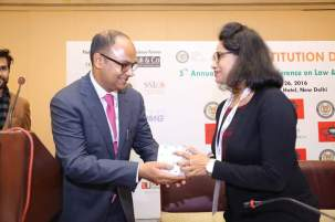 Project Abhimanyu Founder Ojasvita being felicitated at the 67Th Constitution day Celebration by Indian National Bar Association, 26.11.2016 at Shangri-La Eros Hotel, New Delhi